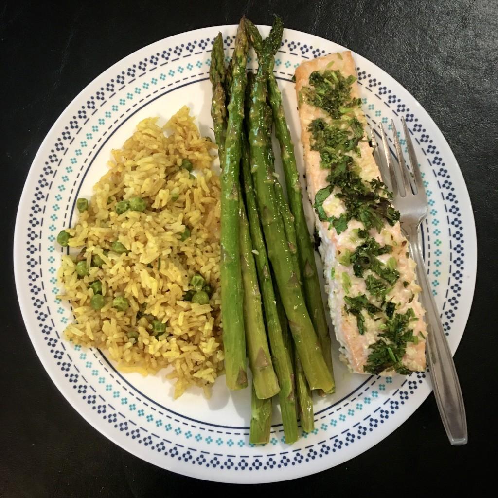 Asparagus, salmon, and rice